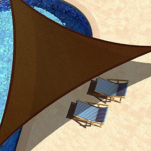 KYNNICETT Triangle Sun Shade Sail Sunshades Canopy Outdoor Shades Cover for Patio Garden Backyard 8' x 8' x 8' Brown