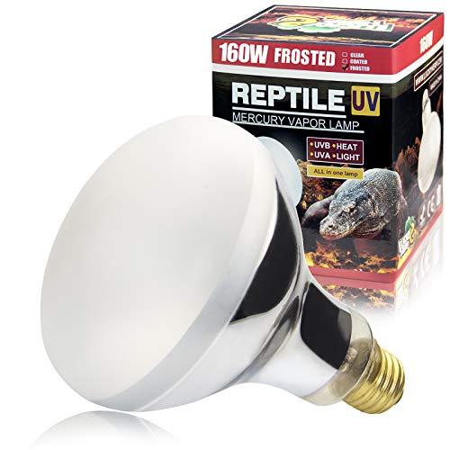 LUCKY HERP 160 Watt UVA+UVB Mercury Vapor Bulb High Intensity Self-Ballasted Heat Basking Lamp/Bulb/Light for Reptile and Amphibian