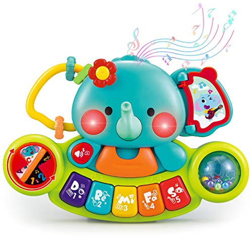 HISTOYE Baby Piano Toys for 1 Year Old Elephant Piano Keyboard Musical Learning Toys for Infant Baby 6 9 12 18 24 Months Light Up Baby Toy Gifts for 1 2 3 Year Old Toddlers Baby Girl Boy