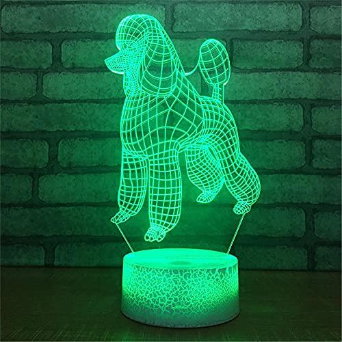 SLJZD luz de noche Patrón De Perro De Oreja Grande Ilusión 3D Luz Nocturna Multicolor Para Decoración De Sala De Estudio 7 Colores Luz Led De Humor Regalo Creativo Con Control Remoto