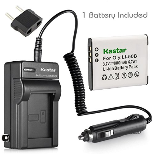 Kastar Li-50B Battery and Charger for Olympus Stylus Tough 6020 8000 8010 and Stylus 1020 Stylus 1030 Stylus 9000 SP-720UZ SZ-10 SZ-11 SZ-12 SZ-15 SZ-16 SZ-20 SZ-30MR SZ-31MR Tough 6000 Tough 9000