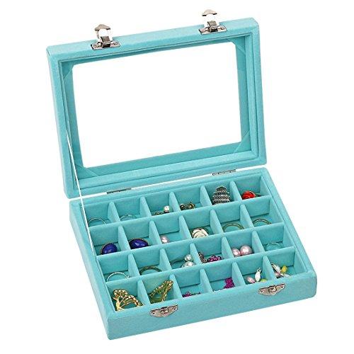 Ivosmart Aufbewahrungsbox für Schmuck, 24 Fächer, aus Samt, mit Glasdeckel, Fächer für Ohrringe, Schwarz, blau, 24 Section (Light Blue)