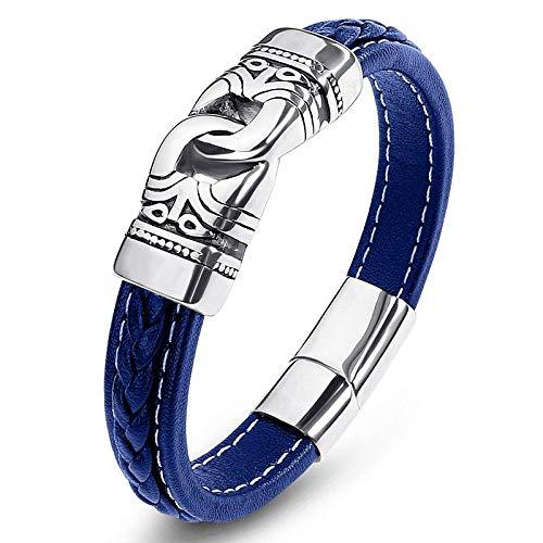 Punk armband van titanium staal, voor dames, blauw, dubbele ring, zilverkleurig 18.5cm