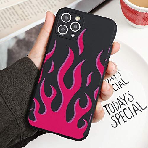 LIUYAWEI Fashion Red Flames Funda Ajustada para iPhone 11 Pro XS MAX XR X 7 8 6S Plus 5S 5 SE 2020 Funda TPU Funda de Silicona con patrón de Fuego, Khe, mhhuoyan, para iPhone XS MAX
