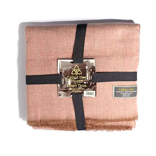 Carrolls Irish Gifts Celtic Ore Authentic Tweed Luxury Wool Blend Throw, Pink Colour