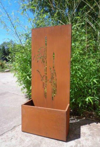 Zen Man Garten Sichtschutz aus Metall Rost Gartenzaun mit Pflanzschale Gartendeko edelrost Sichtschutzwand 031750, H120*L50*25CM