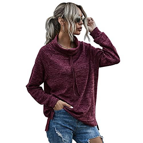 Sudadera Mujer Jersey con Cuello de Tortuga Manga Larga Color Sólido Pullover Holgado Moda callejera Sueter Adolescentes Deportivo Suéter Tops Blusa Otoño Invierno
