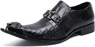 YOWAX Zapatos de Cuero de los Hombres del Dedo del pie Zapatos de Cuero de Metal Casquillo de la Manera Negros para Inform...