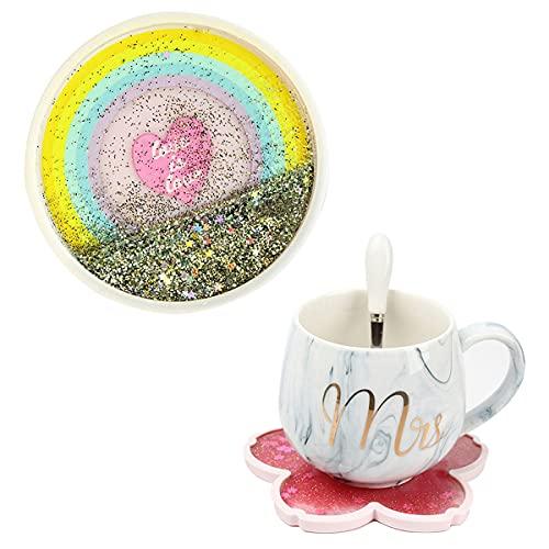 MBTRY Sakura - Juego de 6 posavasos de arena movediza con almohadilla aislante de calor, antideslizantes y antiincrustantes de silicona, regalos para café, cerveza, copas de vino (arco iris)