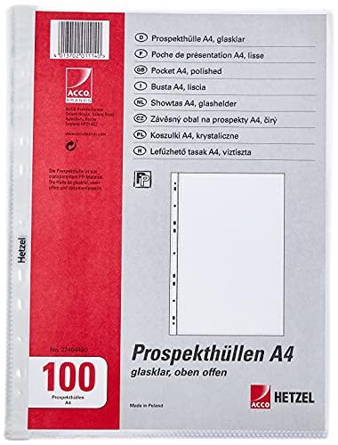 REXEL Buste a perforazione universale, Formato A4, 30.6 x 23.4 x 1.9 cm, Colore trasparente, 100 pezzi, 22464490