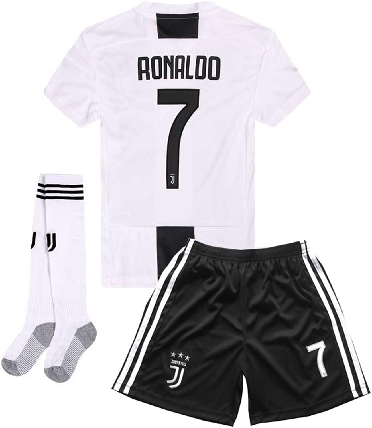 20182019 Home C Ronaldo  7 Juventus Kids Youth Soccer Jersey & Shorts & Socks White