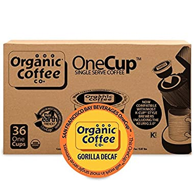 Organic Coffee Co. OneCup, Gorilla DECAF, 36 Count- Single Serve Coffee, Compatible with Keurig K-cup Brewers, USDA Organic