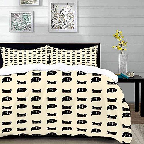 Bedding Juego de Funda de Edredón,Microfibra -Gato, gatitos negros jóvenes que se esconden y dicen Hola mascotas d - Funda de Nórdico y Fundas de Almohada - (Cama 200 x 200cm + Almohada 63X63cm)