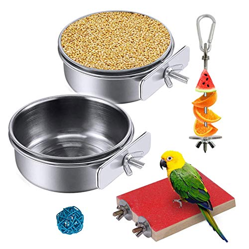 Hamiledyi Parrot Feeding Cups with Clamp,Birds Food Dish Stainless Steel Parakeet Food Water Bowls Dish FeederHolder with Fruit Skewer Perch Chew Ball for Lovebird Budgie(5PCS)