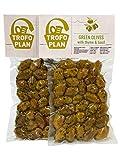 TrofoPlan - Aceitunas verdes aliñadas con tomillo y albahaca (2 paquetes de 200 g)