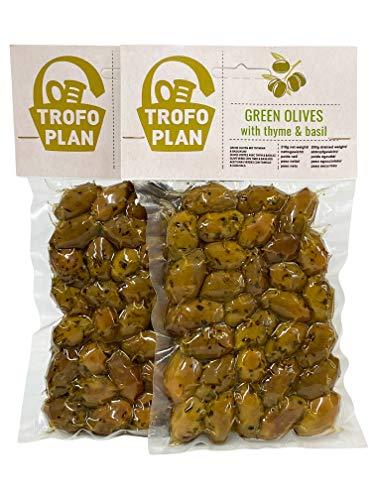 TrofoPlan Aceitunas Verdes aliñadas con Tomillo y Albahaca 200 g, Paquete de 2