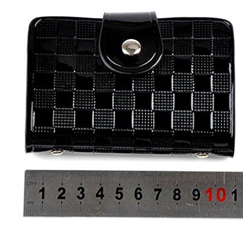 Patent Leather Credit Card Wallet Holder, Holds 40 Cards (Black)