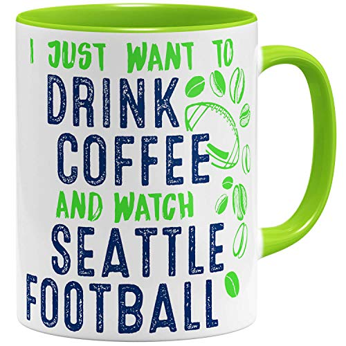 OM3® - Seattle-Coffee - Tasse | Keramik Becher | American Football Mug | 11oz 325ml | Beidseitig Bedruckt | Hellgrün