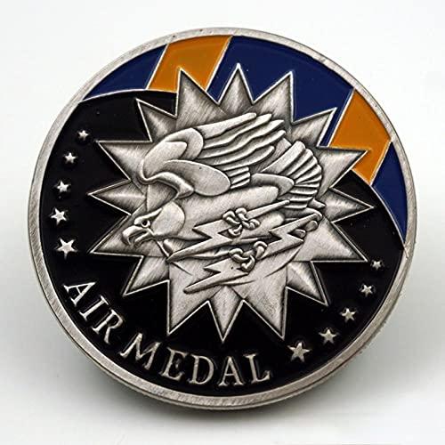 YPZMYGQ Parte conmemorativa de la Medalla de honor de la Fuerza Aérea de Estados Unidos en plata plateada águila volando sostiene pieza conmemorativa de trueno