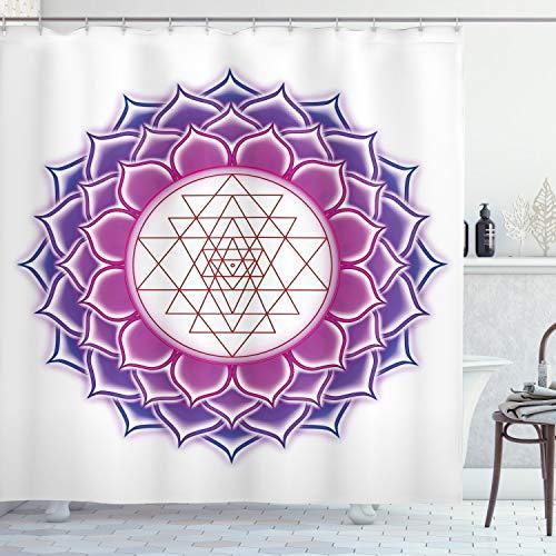 Lotus Duschvorhang von ambesonne, Heilige Geometrie Yantra Mandala mit Triangel Zahlen Spiritual Yoga Illustration, Stoff Badezimmer Decor Set mit Haken, Fuchsia Lila, Textil, Multi 1, 69W x 84L