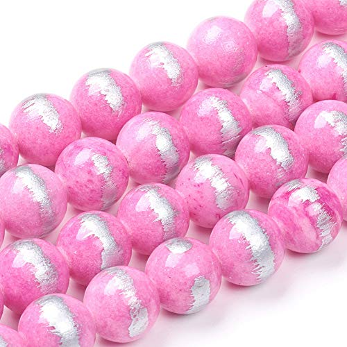 Cheriswelry 8mm Natural Jade Beads Strands Dyed Pink Round Ball Gemstone Loose Spacer Beads Energy Stone for Bracelet Jewellery Making(About 50pcs/Strand)