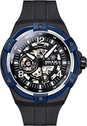 Brera Milano Reloj de hombre Superdeportivo Evo de 45 mm, con caja de acero negra, esfera negra – bisel azul, correa de goma natural negro, deployant negro Ref. Bmssas4503e