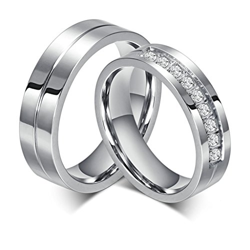 Bishilin Acero Inoxidable 6Mm Anillo de...