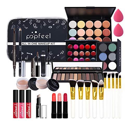29 Pièces Ensemble-cadeau de Maquillage Tout-en-un Kit de Démarrage Essentiel de Maquillage Ensemble de Maquillage avec Fard à paupières Palette cosmétique pour Les Femmes Filles Idée Cadeau de Noël