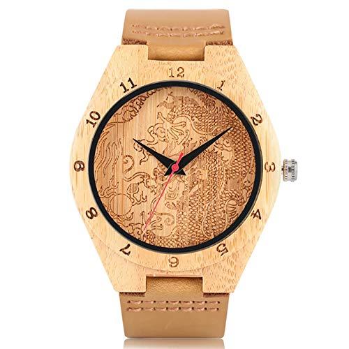 FANSWD Natur handgemachte Bambusuhr Holz Armreif HerrenuhrenModerne einfache Armbanduhr
