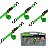 SMARTSTRAPS - 101W QuadWinder 14' Padded Ratchet Tie Down, Green (4pk) - Patented Self-Loading Storage Case - 1,500lb Break Strength, 500lb Safe Work Load – Haul Lighter Loads Like ATV's, Mowers and More