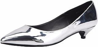 Jiu du Women's Cute Slip On Pointed Toe Low Kitten Heel Pumps Dress Shoes