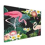 Olverz Cuadro decorativo de pared con diseño de flamencos tropicales y hojas de plátano con marco moderno para pared, decoración del hogar y la oficina, tamaño enmarcado 30,4 x 45,7 cm