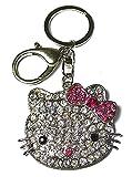 Kätzchen-Schlüsselanhänger Silberfarben Rosa Schleife Strass Handtaschen-Schmuck