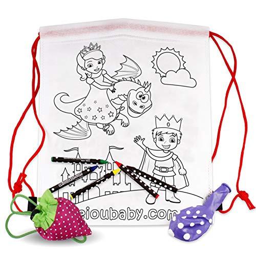 25 Rucksack zum Ausmalen + Wiederverwendbare Tasche | 25 einzelne Taschen mit 5 bunten Wachsmalstiften und Luftballon | Geschenk Kinder auf Festen und Geburtstagen