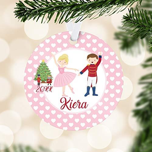 Alicert5II Cascanueces Personalizado Adorno Rosa Corazones Cascanueces Bailarina Vacaciones decoración niños Cascanueces Bolas de Navidad Regalo de Nombre