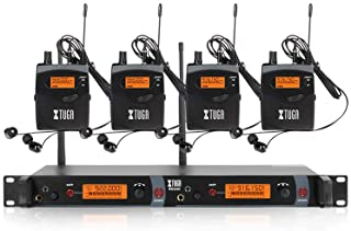 XTUGA RW2080 Rocket Audio Whole Metal Wireless in Ear Monitor System 2 Channel 4 Bodypacks Monitoring with in Earphone Wireless Type Used for Stage or Studio (Frequency 902-928mhz)