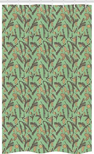 ABAKUHAUS Dennenappel Douchegordijn, Spring Seizoen Blad van de Installatie, voor Douchecabine Stoffen Badkamer Decoratie Set met Ophangringen, 120 x 180 cm, Umber Camel Reseda Groen