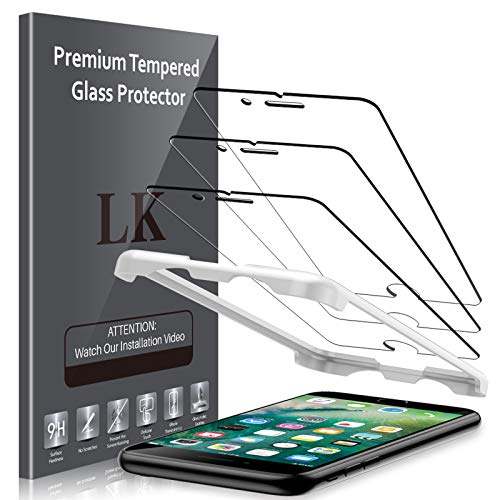 LK (3 Pack) Screen Protector for iPhone 7 / iPhone 8 4.7'' Tempered Glass (Easy Installation Tray) 0.3mm Thickness [Anti-Scratch] [Max Coverage] 98% HDClarity Film-TG151