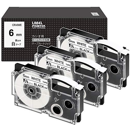互換 ネームランド テープ 6mm 白 カシオ XR-6WE XR 6WE CASIO Name Land テープカートリッジ 黒文字 3個セット ASprinte