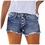 Women's Casual Jean Shorts High Waisted Rolled Hem...