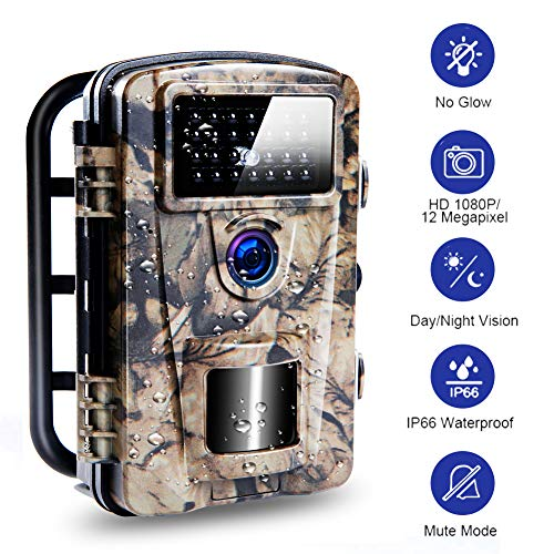 Wildkamera Jagdkamera mit 0,2 s Auslösegeschwindigkeit wasserdichte Wildkamera Integrierte 940 nm LED Nachtsichtkamera für Nachtsicht und Sicherheit zu Hause|12MP|65ft