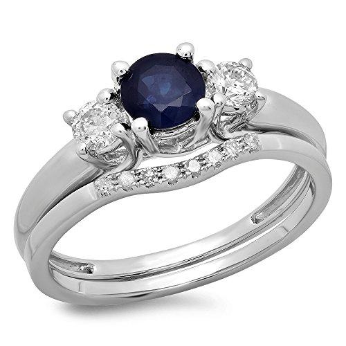 DazzlingRock Collection Oro Bianco 14K con Zaffiro Blu & Bianco Diamante da Sposa 3Pietra Anello di Fidanzamento Wedding Set, Oro Bianco, 10,5, cod. K2669-14KW-5.5