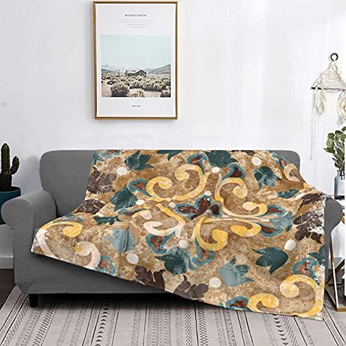Manta Mantas de forro polar ultra suaves, azulejo azul geométrico vintage italiano patrón marroquí azulejos antiguo diseño abstracto de cerámica, suave manta ligera y difusa para cama, 50 'x 60'