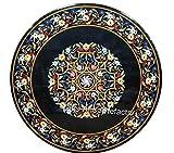 Mesa de comedor redonda de mármol con Pietra Dura Art hecha a mano con aspecto real de la India Handicrafts de 36 pulgadas