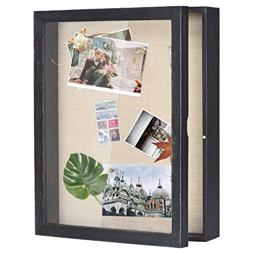 Love-KANKEI Shadow Box Frame 11x14 Shadow Box Display Case with Linen Back Rustic Wood Memory Box for Awards Medals Photos Pictures Black