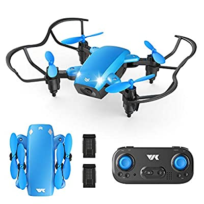 VIK Foldable Mini Drone for Kids/Beginners Pocket RC Drone Toys for Boys and Girls w/Headless Mode, Altitude Hold, One Key Take-Off/Land/Return, 2 Batteries - VK330 from VIK