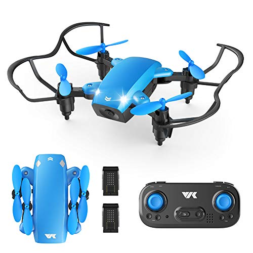 VIK Foldable Mini Drone for Kids/Beginners Pocket RC Drone Toys for Boys and Girls w/Headless Mode, Altitude Hold, One Key Take-Off/Land/Return, 2 Batteries - VK330