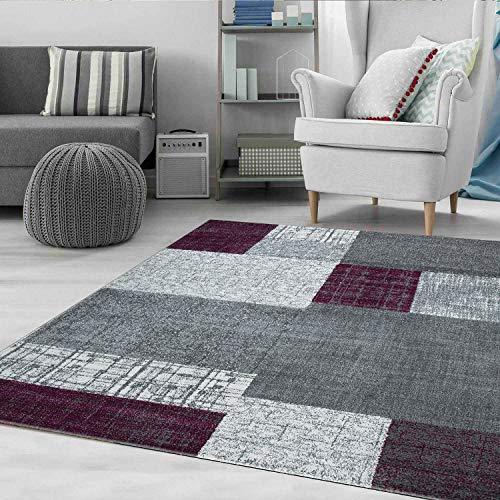 VIMODA Moderner Designer Teppich in Lila Grau und Weiß mit Kachel Optik Kurzflor, Maße:80 x 150 cm