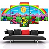 Fashion Canvas Painting Printed Painting 5 Pieces Grateful Dead Wall Art Poster Home Decor for Living Room Modern Artwork Pictures (Color : Canvas, Size (Inch) : 40x60 40x80 40x100cm)