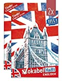 2 x Englisch Vokabelheft A5 2 Spalten   mit Sprüchen, Infos zu Kultur und Umgangssprache, Grammatik, Lernkontrollsystem, Stickern u.v.m